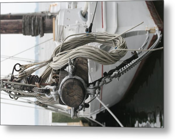 Boat Docked In St. Michael Metal Print by Karen Fowler