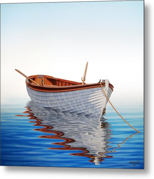 Boat In A Serene Sea Metal Print by Horacio Cardozo