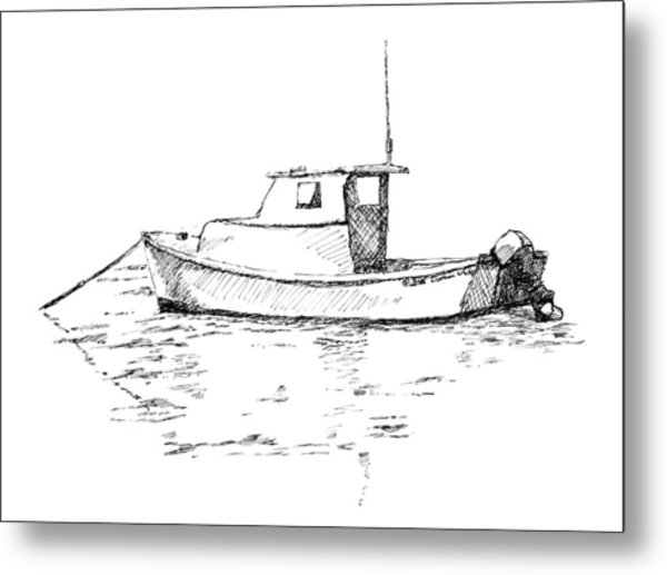 Boat In Casco Bay Metal Print