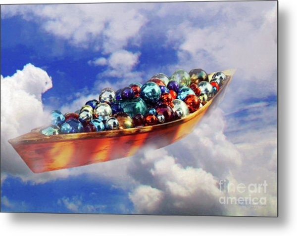 Boat In The Clouds Metal Print