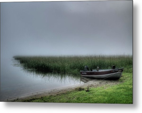 Boat In The Fog Metal Print