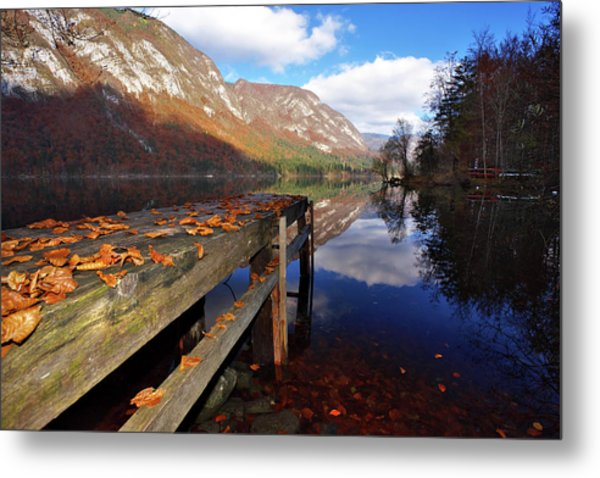 Boat Mooring At Lake Bohijn Metal Print