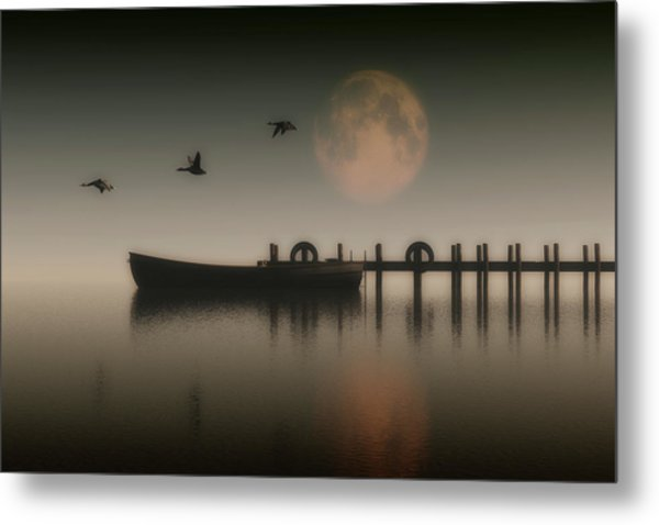 Boat On A Lake With Geese Flying Over Metal Print