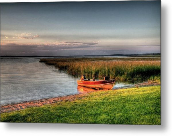 Boat On A Minnesota Lake Metal Print
