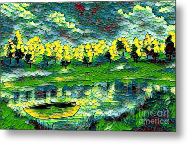 Metal Print featuring the painting Boat On Lake by Lita Kelley