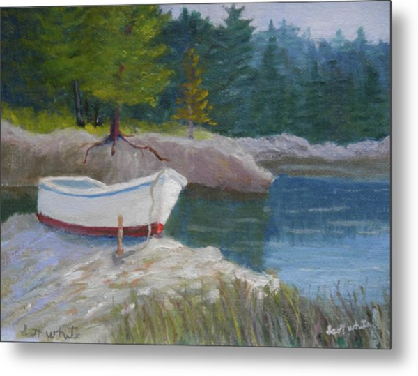 Boat On Tidal River Metal Print