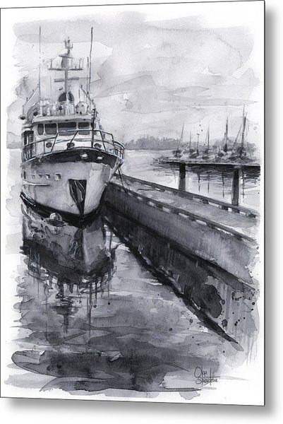 Boat On Waterfront Marina Kirkland Washington Metal Print