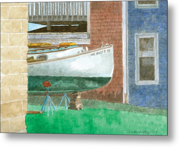 Boat Out Of Water - Portland Maine Metal Print