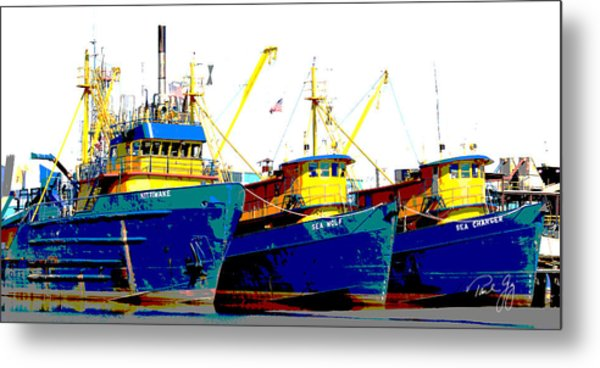 Boat Series 12 Fishing Fleet 2 Empire Metal Print