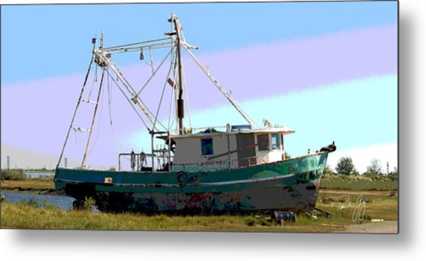 Boat Series 5 West Pointe A La Hache 2 Grounded Metal Print by Paul Gaj