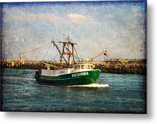 Boat Texture Manasquan Inlet Metal Print by Angel Cher