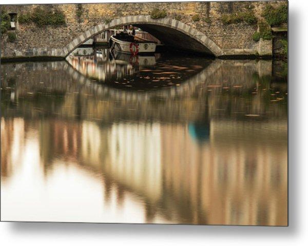 Boat Waddling On Water Channels Of Bruges, Belgium Metal Print