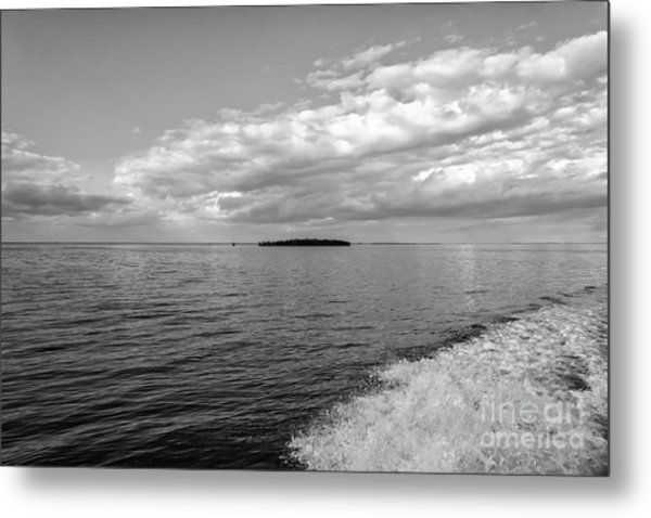 Boat Wake On Florida Bay Metal Print