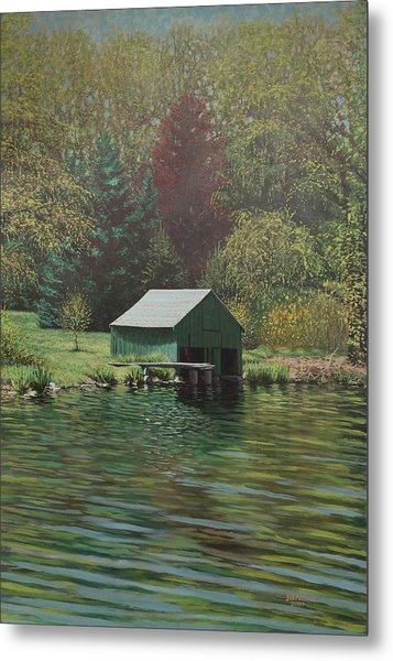 Boathouse On Langwater Pond Metal Print