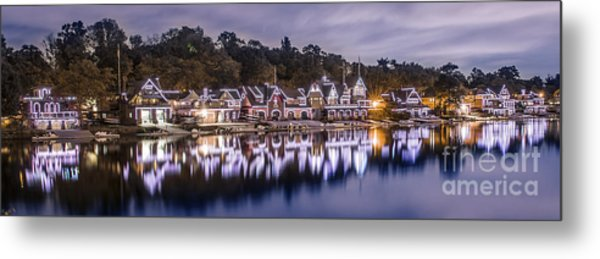 Boathouse Row Night Blue Metal Print