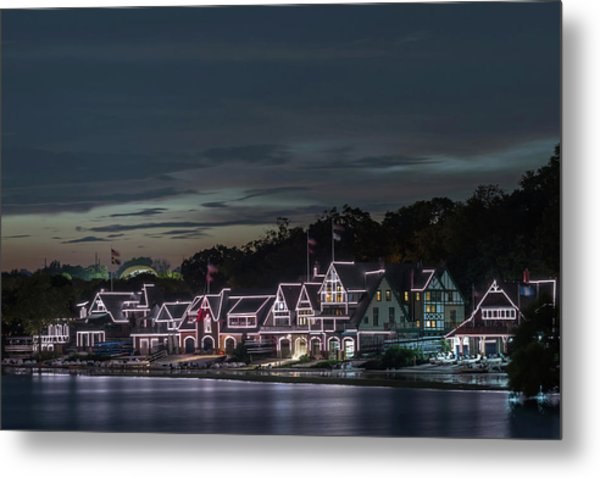 Boathouse Row Philly Pa Night Metal Print