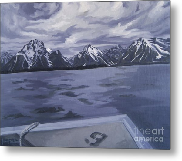 Metal Print featuring the painting Boating Jenny Lake, Grand Tetons by Erin Fickert-Rowland