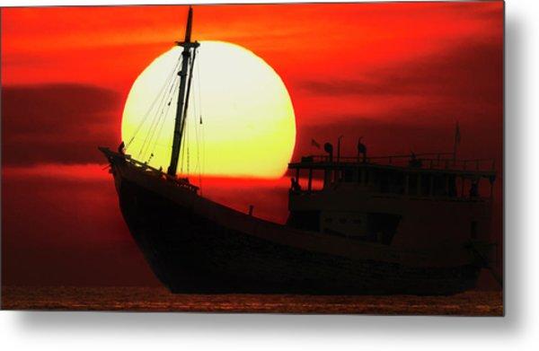 Boatman Enjoying Sunset Metal Print