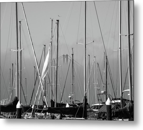 Boats And A Bridge On The Bay Metal Print