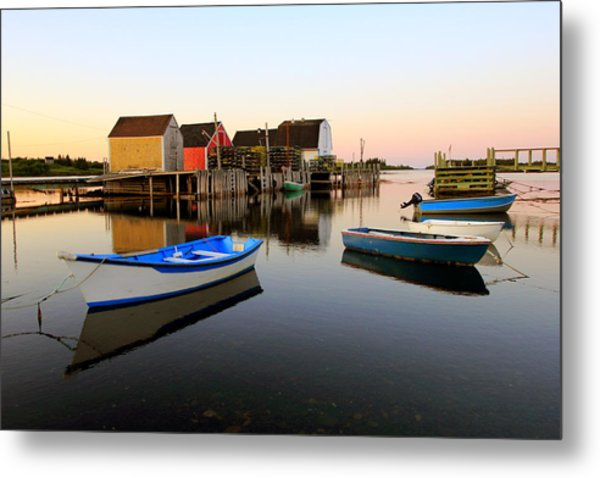 Boats And Fish Shacks At Blue Rocks, Nova Scotia Metal Print