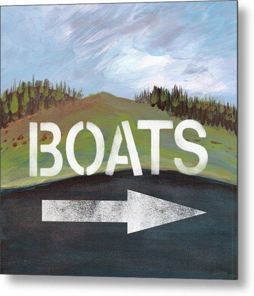 Boats- Art By Linda Woods Metal Print