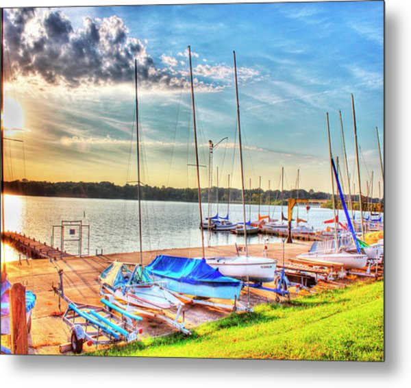 Boats At Lake Decatur Metal Print by Ann Higgens