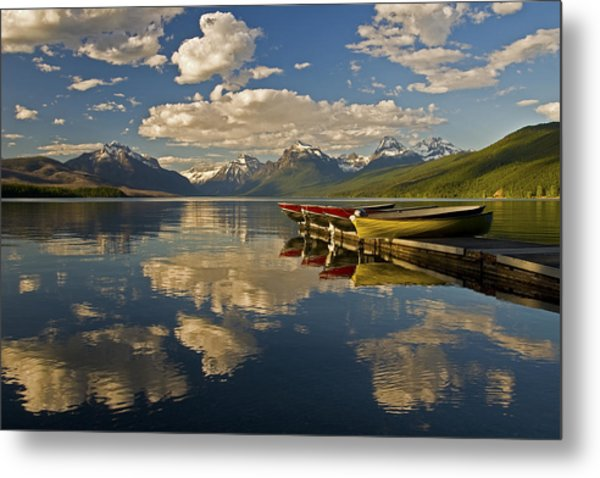 Boats At Lake Mcdonald Metal Print