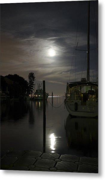Boats At Moon Rise Metal Print