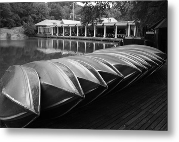 Boats At The Boat House Central Park Metal Print