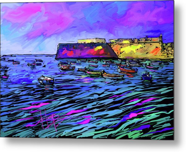 Boats In Cadiz, Spain Metal Print