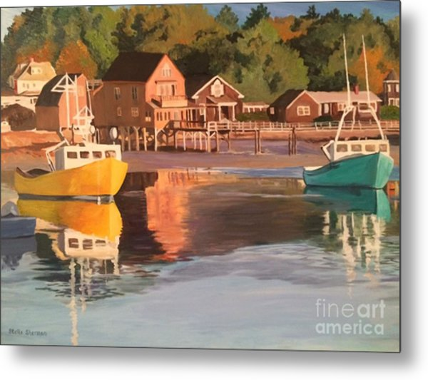 Boats In Kennebunkport Harbor Metal Print