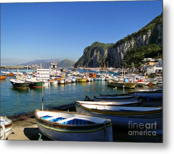 Boats In The Harbor Metal Print