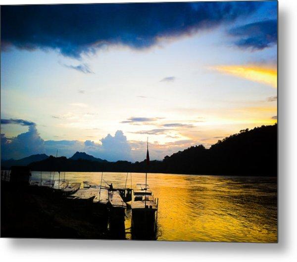 Boats In The Mekong River, Luang Prabang At Sunset Metal Print