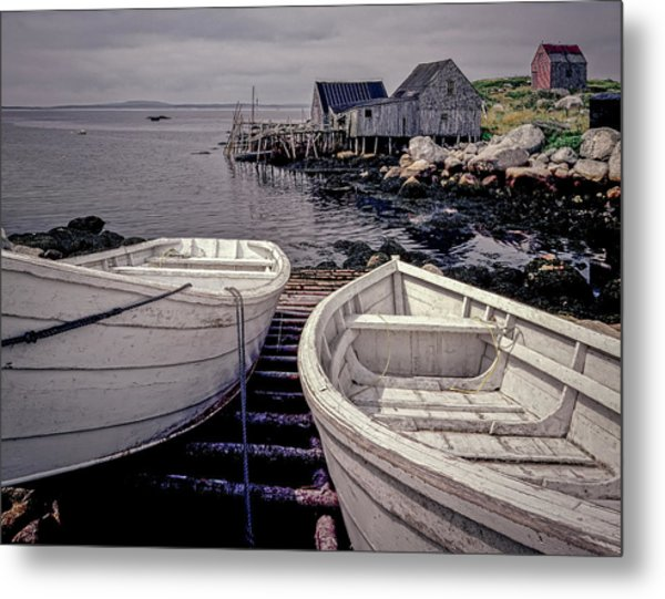 Boats Near Peggys Cove Metal Print