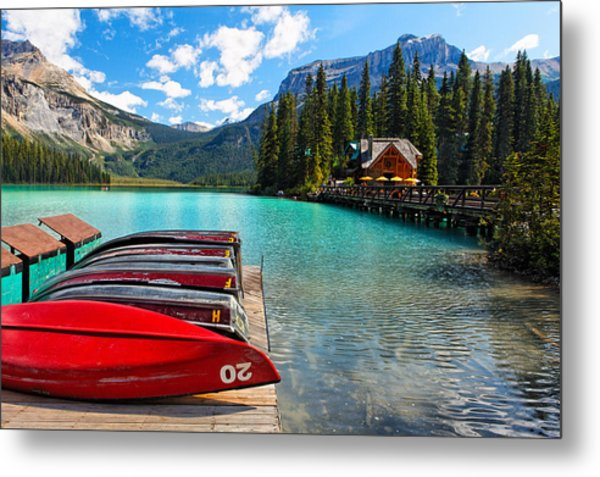 Boats On A Dock  Emerald Lake Canada Metal Print by George Oze