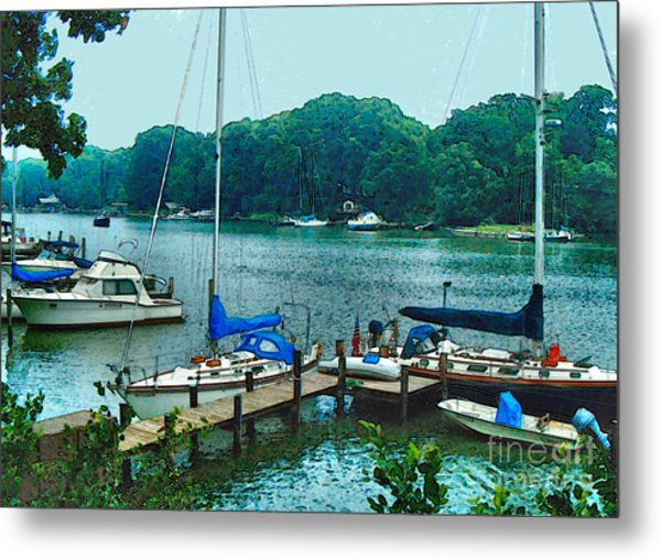 Metal Print featuring the painting Boats On The Bay by Elinor Mavor