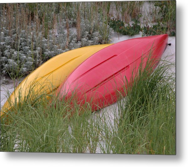 Boats On The Beach In Ma Metal Print by Mary Pearson