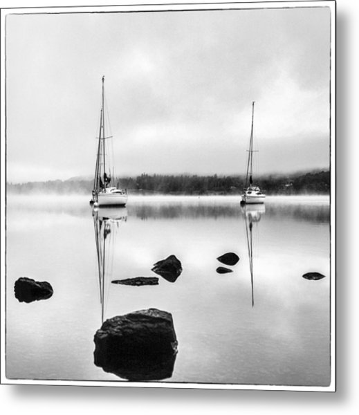 Boats On Ullswater In The Lake District Metal Print