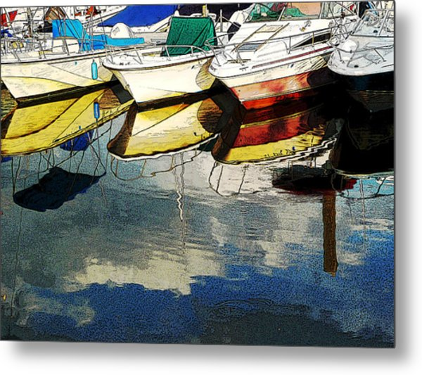 Boats Reflected - Poster     1st Place Award At Uconn Art Show  Metal Print