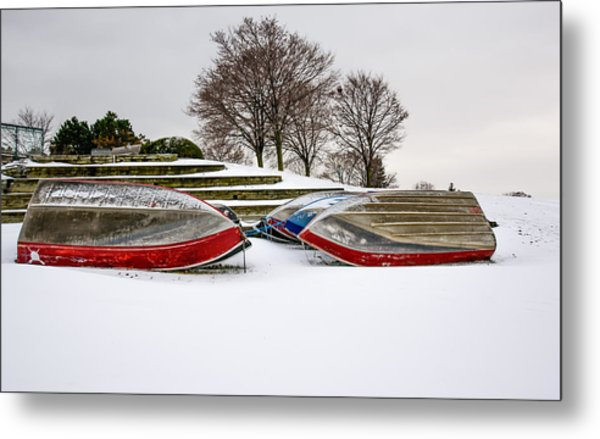 Boats Waiting On Spring Metal Print