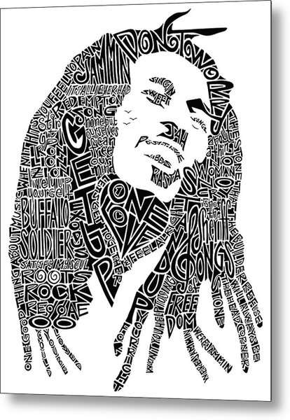 Bob Marley Black And White Word Portrait Metal Print