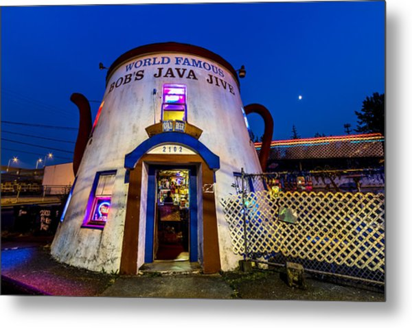 Bob's Java Jive - Historic Landmark During Blue Hour Metal Print