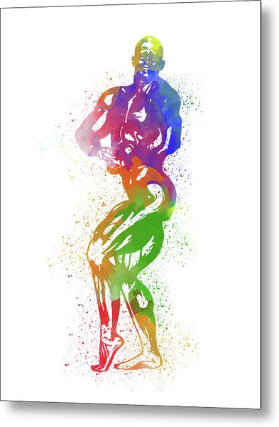 Bodybuilder Watercolor 2 Metal Print