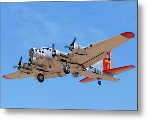 Boeing B-17g Flying Fortress N5017n Aluminum Overcast Landing Deer Valley Airport March 31 2011 Metal Print