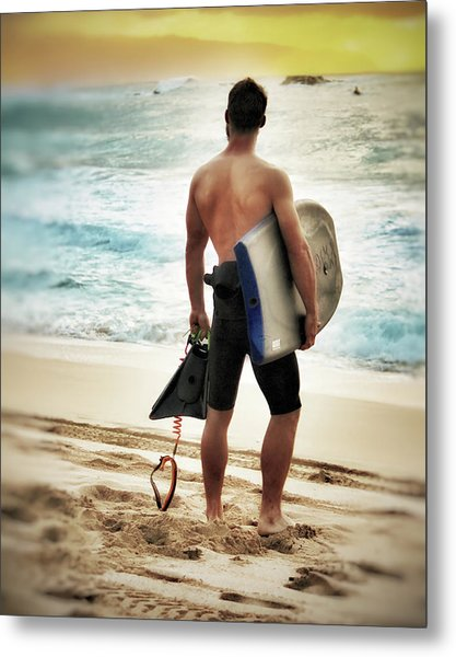 Boggie Boarder At Waimea Bay Metal Print