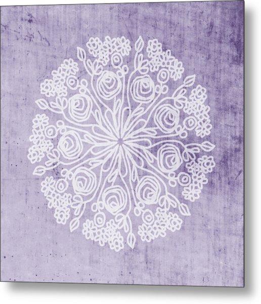 Boho Floral Mandala 1- Art By Linda Woods Metal Print