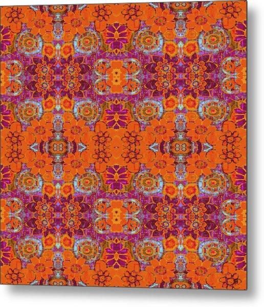 Boho Hippie Garden - Tangerine Metal Print