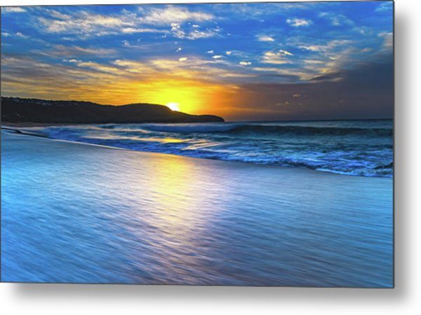 Bold And Blue Sunrise Seascape Metal Print