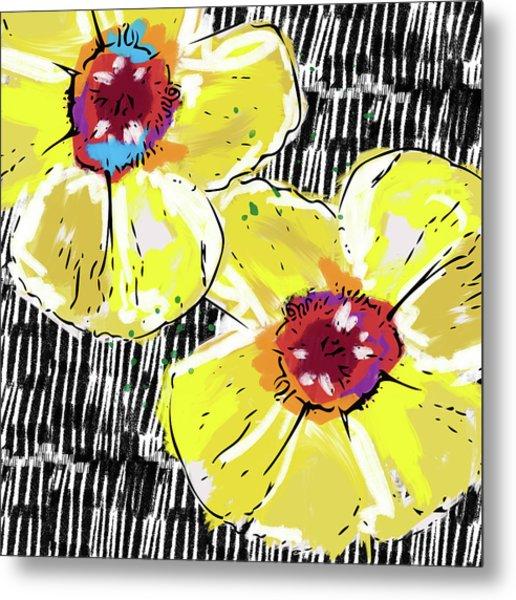 Bold Yellow Poppies- Art By Linda Woods Metal Print