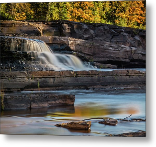 Bonanza Falls - Big Iron River, Silver City, Mi Metal Print